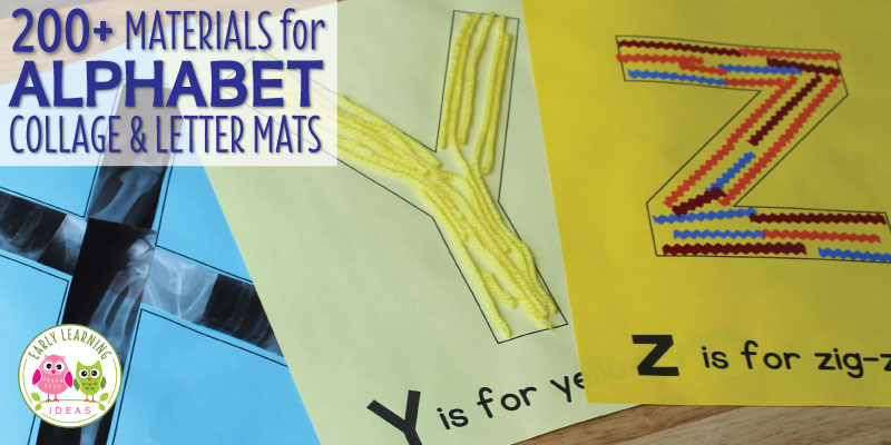 Alphabet activities such as making letter collages or using letter mats are a great hands-on way to teach letter identification and reinforce letter-sounds. Here are over 200 material ideas that you can use for your collages or letter mats. A printable reference list or art and other materials is included. Better than worksheets, these are perfect hands-on activity for your preschool and pre-k classroom or lesson plans. Your young children will love this sensory learning opportunity. #preachool