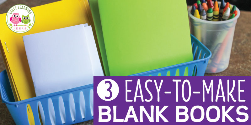 Blank books provide a great way to encourage kids to write. Here are 3 easy ways to assemble blank books for your writing center, literacy center, and beyond. These blank books for kids are great for preschool, pre-k, kindergarten, SPED, and early childhood classrooms and at home. Use them for preschool journals ideas for use and video tutorials are included. Emergent writers can use them to draw pictures or art and writing. Your children will love learning with these fun books. #preschool