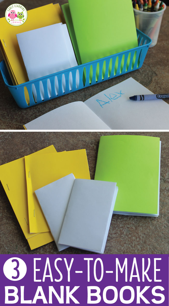 Blank books provide a great way to encourage kids to write. Here are 3 easy ways to assemble blank books for your writing centers and beyond. These are great for preschool, pre-k, kindergarten, SPED, and early childhood classrooms and at home. Ideas for use and video tutorials are included.