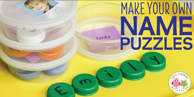 You can make your own name puzzles with plastic bottle caps and recycled containers. Use the free name activity when teaching young children to recognize their names. The activity will also help them with spelling their name. Plus, you can use them for many different literacy activities. Ideas for use include a daily sign in procedure, CVC word activities or sight word activities for preschool, pre-k, and kindergarten. Use this fun name activity in your early childhood literacy centers.