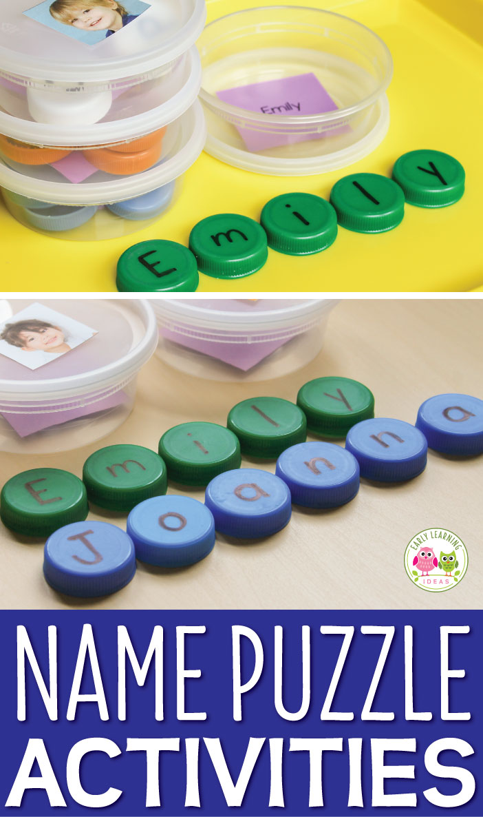 You can make your own name puzzles with plastic bottle caps and recycled containers. Use the puzzles to teach kids to recognize and spell their names, plus use them for many different literacy activities. Perfect for daily sign in procedure, CVC word activities or sight word activities for preschool, pre-k, and kindergarten. hands-on ELA center, literacy center, and literacy work stations