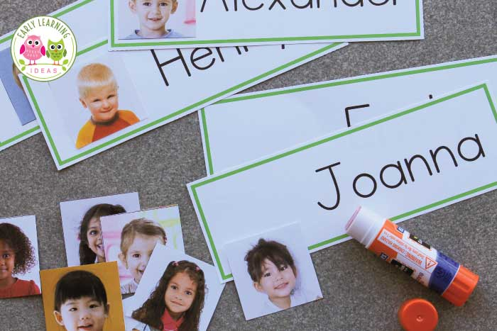Use this free template to make name cards for your preschool, pre-k, or kindergarten word wall. The free printables are great for your writing center, circle time activities, literacy centers. Great for name spelling, name recognition and name writing, and phonemic awareness activities when teaching in an early childhood classroom. Use the fun name cards in pocket charts, on bulletin boards too. Children will especially love that they can see their pictures and names on your word wall.