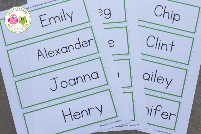 name cards make name cards for your word wall early learning ideas
