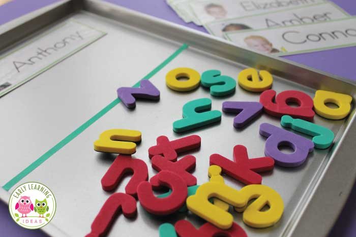 Check out this simple name activity for young children.  Sorting letters with name cards is a great way to begin teaching children to recognize letters of the alphabet. See how I used this free printable name card templates, magnetic letters, and a cookie sheet to make this activity for your kids. Perfect for your preschool, pre-k, TK, kindergarten, RTI, and SPED classroom. This is an easy but fun activity to use in ELA centers, literacy centers, and literacy work stations.  early literacy ideas