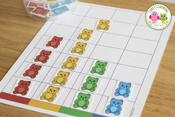 Use these free printables in your math centers in your preschool, pre-k and kindergarten classroom. Kids will love this bear color graph activity set to practice a variety of early math skills. Several math games and activity ideas are included.  Kids will have fun will learning colors identification, color sorting, counting, and number comparison.  Perfect for your bear or hibernation themed unit or lessons plans, but can be adapted for any theme or used with different types of counters.