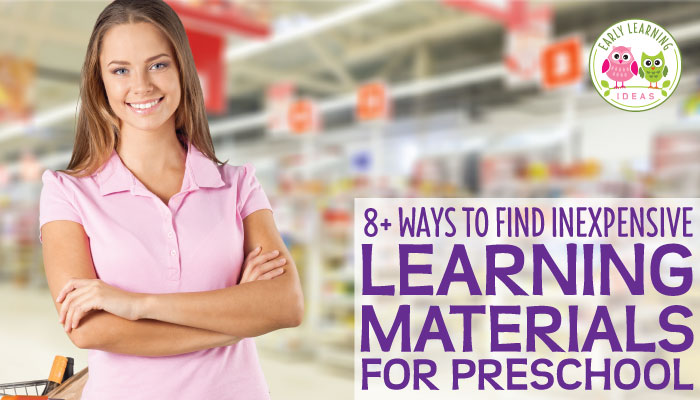 Use these tips, tricks and hacks to find bargain preschool teacher supplies in some unexpected places. Get supplies for your preschool or pre-k classroom without breaking your budget. Find counters, manipulatives, art supplies, bargain books, and games on the cheap. Perfect for preschool teachers, pre-k teachers and kindergarten teacher. #preschool #prek