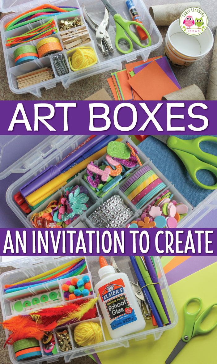 Are you are looking for open-ended and easy art ideas for kids? Fill some art boxes with a variety of materials and watch your kids' creativity go wild. Use art boxes in your art center, maker space or as a gift for a special child. Perfect for preschool, pre-k, kindergarten, prep, and early childhood education STEM and process art centers. STEM activity for preschool, STEAM activities
