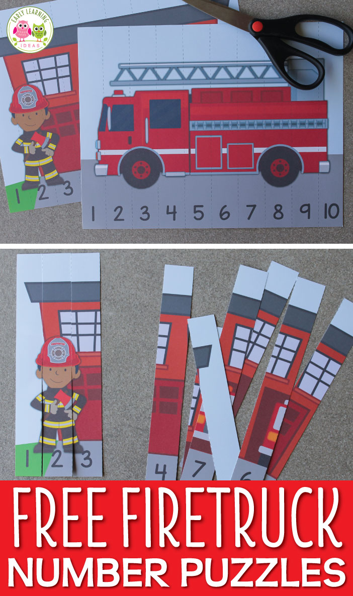 Use these free fire truck printables to fun way to teach number recognition and number order. Both fire truck number puzzles will be great addition to your community helpers theme, fire safety theme, or firefighters theme unit and lesson plans in preschool or pre-k. Teachers and children will love these fire trucks and firemen free printables. Make math learning fun for kids. #preschool #prek