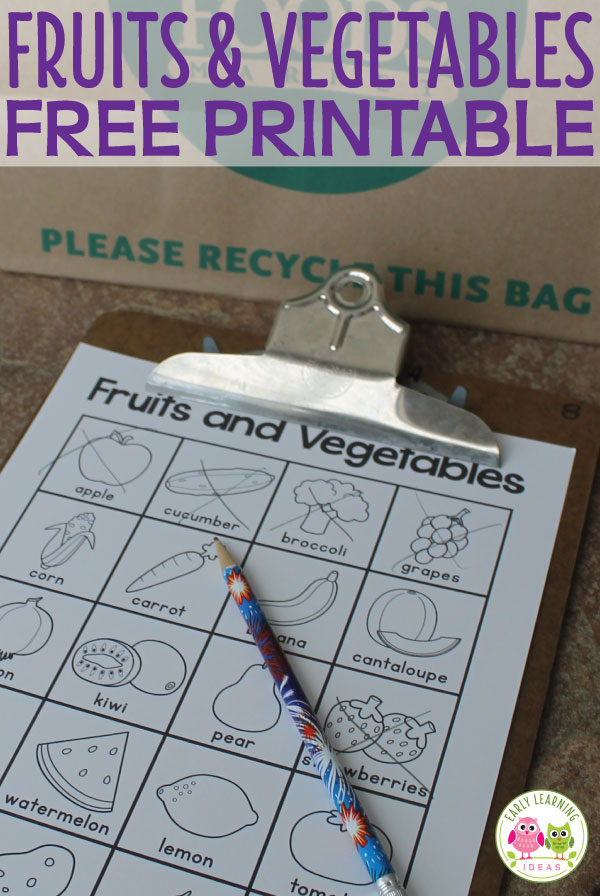 Use this free fruit and vegetable printable can be used as part of a healthy foods unit, a grocery store scavenger hunt, in your writing or dramatic play center, plus more! Perfect or your dramatic play area, literacy center in preschool, pre-k, and tot school. Many ideas are included.