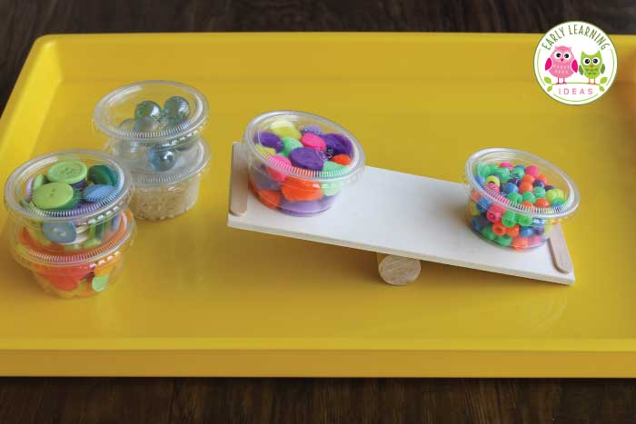 Learn how to make a DIY balance for kids with a few simple and inexpensive materials from the craft store. The balances are great for math, science, or STEM learning centers in your preschool or pre-k classroom. The fun ramps and balances are perfect for small group and independent activities. Use in math centers or math workstations...or in a sensory table or sensory bin. Your kids will love learning with these preschool weight and measurement activities. #preschoolstem #preschool