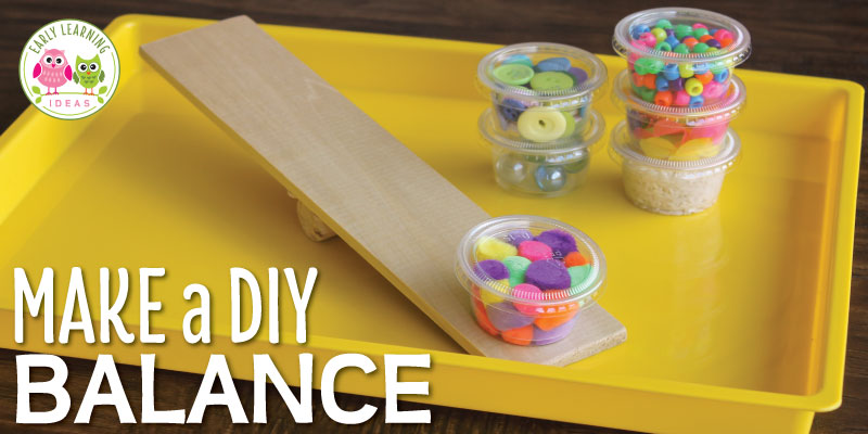 Learn how to make a DIY balance for kids with a few simple and inexpensive materials from the craft store. The balances are great for math, science, or STEM learning centers in your preschool or pre-k classroom. The fun ramps and balances are perfect for small group and independent activities. Use in math centers or math work stations...or in a sensory table or sensory bin. Your kids will love learning with these preschool weight and measurement activities. #preschoolstem