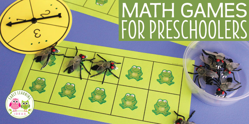 Math games for preschoolers are a great way to help with teaching numbers to early addition . Here is a simple ten frame game (with free printables) that kids love to play. The early childhood math games are perfect for your math center in preschool, pre-k and kindergarten. Customize the game for any season spring, summer, fall or winter. The game pictured is frog themed, but it can be customized for any theme unit or lessons plans in your classroom (like an animal theme). #preschoolmath