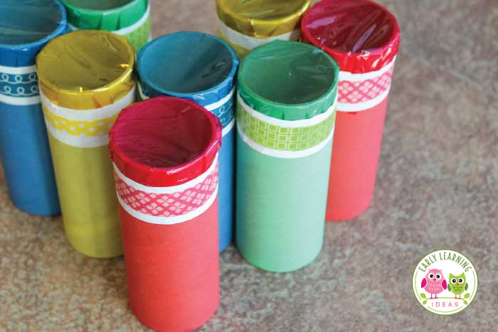 Help kids explore color by creating these color tubes.  The prep is easy.  Kids can decorate them to create their own little work of art. Red, blue, yellow, green....a great way to teach colors. This is more than a preschool arts and crafts project.... there are also many ideas for color mixing, graphing, and other hands on learning activities.  This will be fun for preschool, pre-k, kindergarten, and prep and a perfect addition to your unit and lesson plans on the five senses and colors.