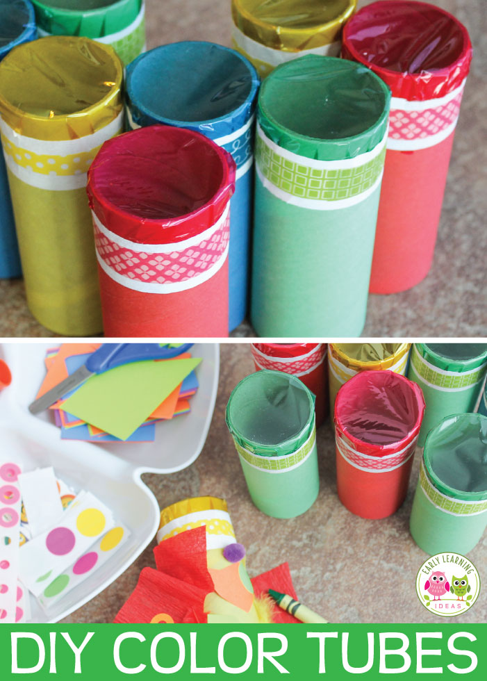 Help kids explore color by creating these color tubes. The prep is easy. Kids can decorate them to create their own little work of art.   Red, blue, yellow, green....a great way to teach colors.This is more than a preschool arts and crafts project.... there are also many ideas for color mixing, graphing, and other hands on learning activities. This will be fun for preschool, pre-k, kindergarten, and prep and a perfect addition to your unit and lesson plans on the five senses and colors.