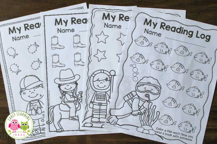 Use these free preschool reading logs to encourage Kids to read at home with their parents. The preschool printables can be used at any time of year. A perfect homework or take home activity for preschool and pre-k children. Kids can fill out one of the 14 objects for each book that they read...the time period for each log is flexible. Western theme, space theme, ocean theme, and insect them are included....but the reading logs are great for any time of year. early literacy, reading with parents