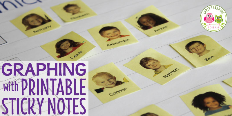 Printable Sticky Notes : Graphing Ideas for Preschool
