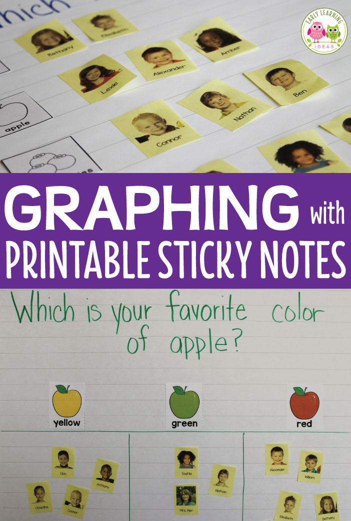 Create custom printable sticky notes with these free printables templates. Add kids' photos and names to the sticky notes and use them for graphing activities, math activities, name activities and additional activities for preschool and pre-k