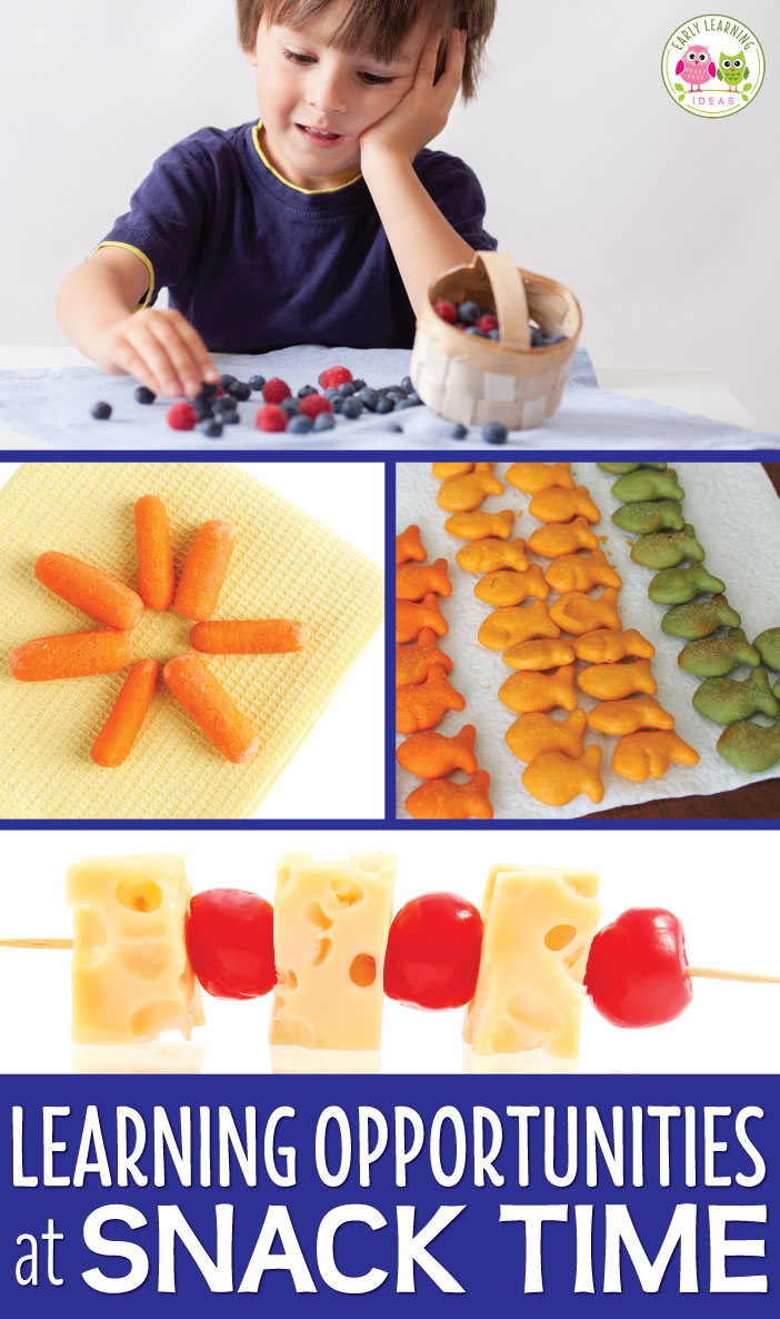 Snack time is the perfect time to work on early learning concepts in a meaningful way in your preschool or pre-k classroom.  Don't miss out on these learning opportunities at snack time. Here are 10 ideas for math and literacy activities during preschool snack time. No printables are neede to work on counting, sorting numeracy, making letters, making shapes, making patterns more than, less than and many other concepts.  Kids will enjoy learning with these easy ideas. #preschool #prek