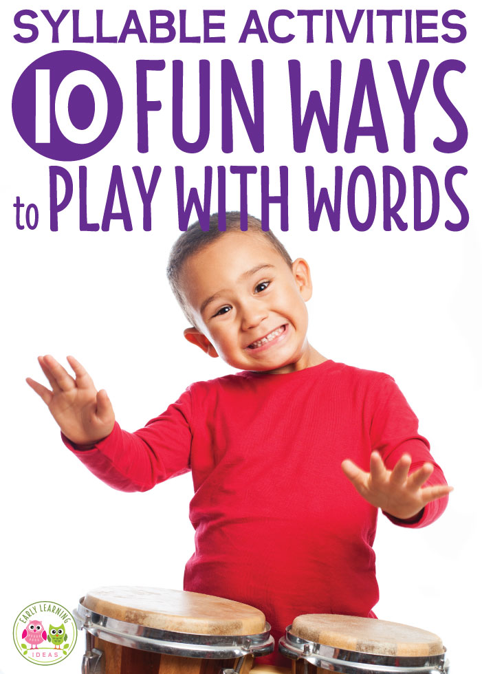 Here are 10+ fun syllable activities for kids. These ideas will help you with teaching your kids how to break words apart into chunks or syllables with these phonological awareness activities. These are great hands-on activities for developing reading readiness in preschool, pre-k, kindergarten, and prep. Activities for your literacy centers, small groups, and circle time are included...hands-on activities to help emergent readers.