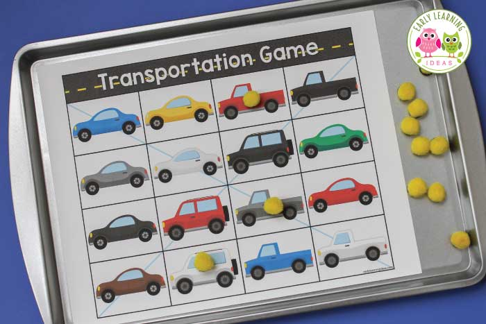 Do your kids love cars? Use this free printable for several transportation activities in your preschool or pre-k classroom. The car printable can be used for a matching game, a bingo game, and even a travel game. It's a perfect addition to your transportation theme or things that go theme, or wheels theme unit and lesson plans. Kids will love the hands-on learning activities.