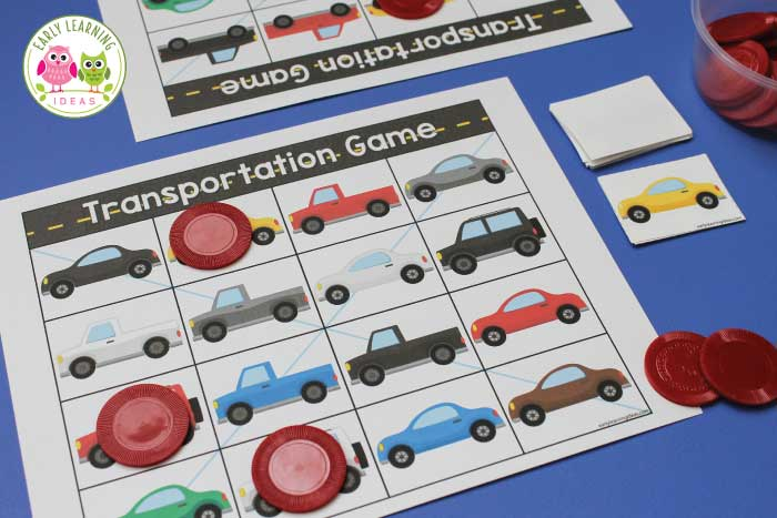 Use this free printable for several transportation activities with with your preschoolers. The car printable can be used for a matching game, a bingo game, and even a travel game. It's a perfect addition to your transportation unit and lesson plans in preschool and pre-k.