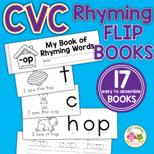 rhyming activity flip books