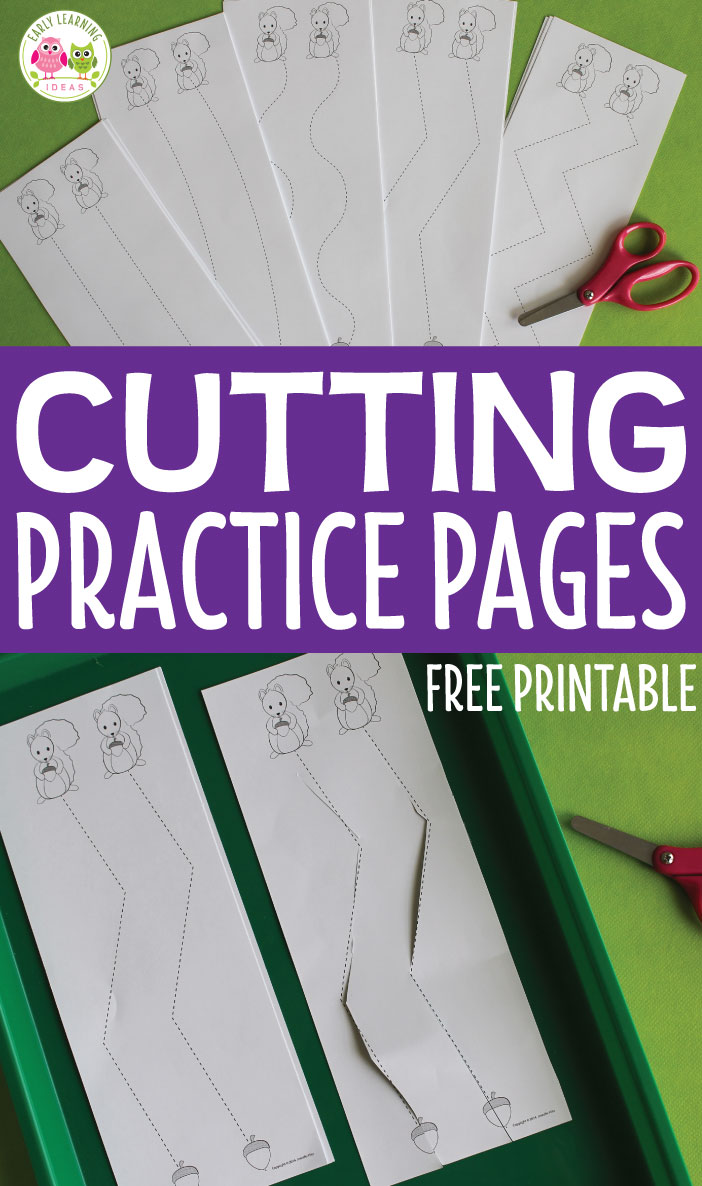 Use these free cutting practice printables for cutting activities with your preschoolers. The free cutting practice sheets will give kids opportunities to practice their scissor skills. Kids can feed the squirrels as they cut the straight, curvy, and zig-zag lines in this squirrel theme, fall theme, or autumn theme fine motor activity. Use for fine motor skills centers or cutting assessments with kids in OT, preschool, pre-k, and kindergarten. #finemotor #scissorpractice #cuttingpractice