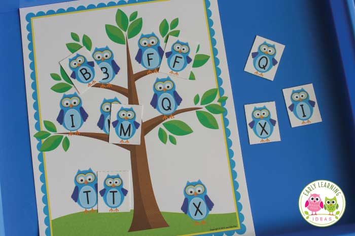Kids will have fun learning letters with this cute owl alphabet matching activity set. There are many ways to use the free printable to work on phonological awareness, alphabet letters, and beginning sounds. Better than worksheets, these owl alphabet activities for preschool, pre-k or kindergarten can be be used for many early childhood activities and games. Ideas are included. #preschool #owltheme #alphabetactivities