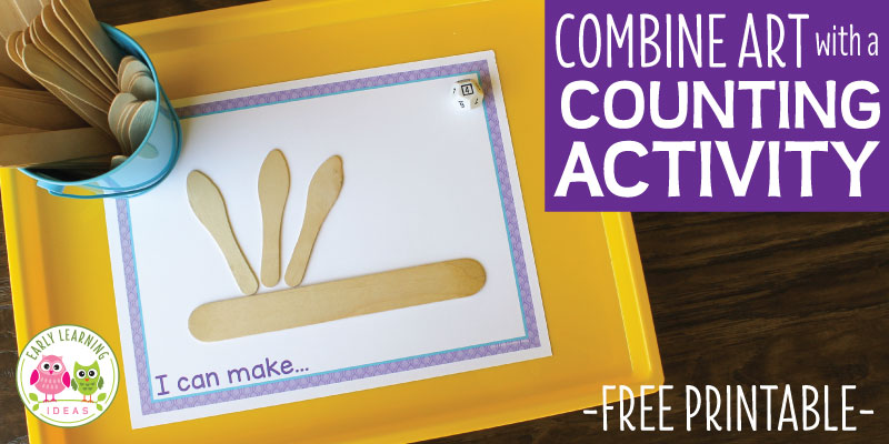 An easy preschool counting and creating activity to make math fun. Use simple, on hand materials with this free printable for this fun preschool STEAM math and design activity. Add play dough for 3-D designs. Perfect for your hands on math centers in preschool, pre-k classroom. Ideas to make number books or to use as a fine motor activity are included. Preschool math, preschool STEM, preschool STEAM. Get out the pom-poms and pipe cleaners for hands-on early childhood learning. #preschoolsteam