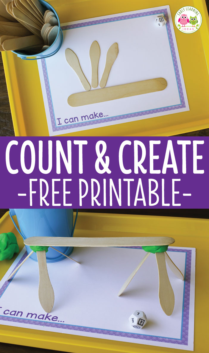 Here is a easy preschool counting and creating activity that your kids will enjoy. Use dice, a few creative materials that you have on hand, along with the free printable maker mat for this fun preschool STEAM math and design activity. Add play dough for 3-dimensional designs. Perfect for your hands on math centers or math work stations in preschool, pre-k and SPED. Options to make a number books or to use as a fine motor activity are included. Preschool math, preschool STEM, preschool STEAM
