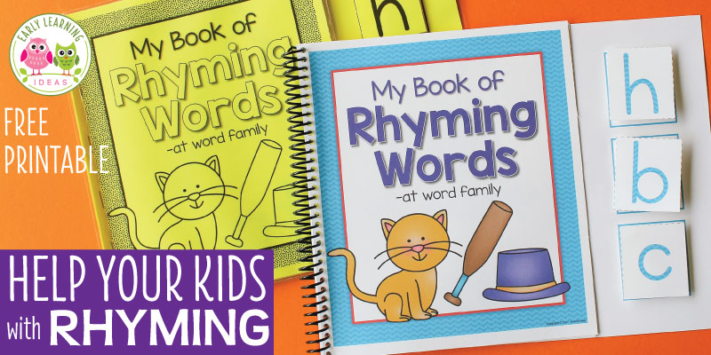 Use these free printable books for fun rhyming activities in preschool, pre-k or kindergarten. Use the free printables in circle time, small group activities or independent learning. They will help you with teaching early literacy skills like phonemic awareness and phonological awareness. Better than Dr. Seuss and worksheets...they are interactive and young children will enjoy using them again and again. Your students will learn letters, beginning sounds, and CVC word families. #preschool