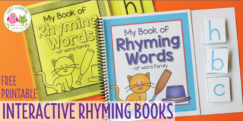 Use these free printable books for fun rhyming activities in preschool, pre-k or kindergarten. Use the free printables in circle time, small group activities or for independent learning. They will help you with teaching early literacy skills like phonemic awareness and phonological awareness. Better than Dr. Seuss and worksheets...they are interactive and young children will enjoy using them again and again. You students will learn letters, beginning sounds, and CVC word families.