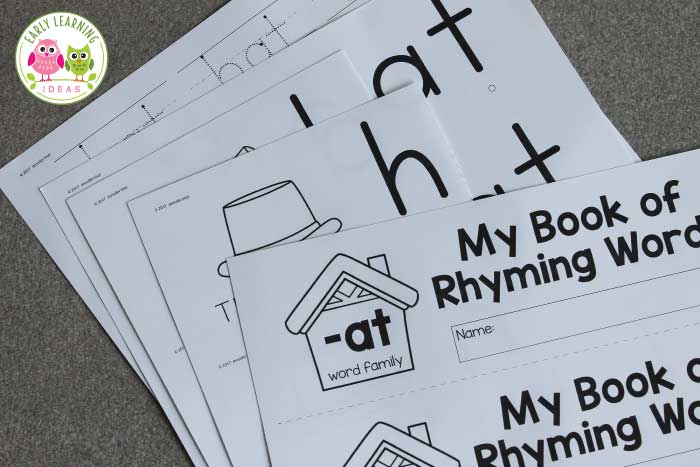 This printable rhyming book will help kids understand the concept of rhyme. Kids see that the end of each word remains the same as they flip the pages. This free printable is perfect for your early literacy centers in preschool, pre-k or kindergarten. The emergent reader is perfect for independent or small group activities. Better than worksheets, the flip book is fun and interactive. phonological awareness and phonemic awareness four young children. #rhymingactivities