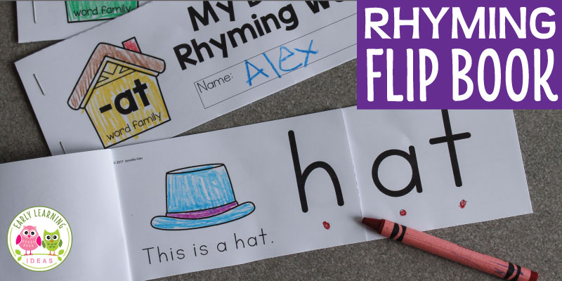 This printable rhyming book will help kids understand the concept of rhyme. Kids see that the end of each word remains the same as they flip the pages. Perfect for your ELA centers, literacy centers and literacy work stations in preschool, pre-k and kindergarten. Teach rhyming, CVC words, CVC word family activities.