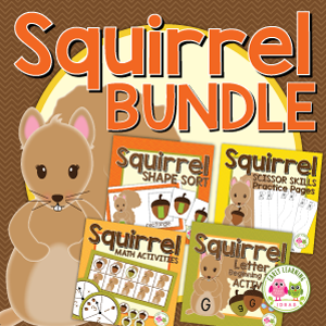 squirrel activities bundle for preschool and pre-k