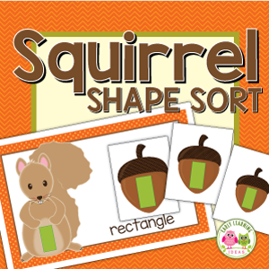 squirrel shape sorting activity for preschool and pre-k