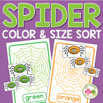 spider color and size sorting activity