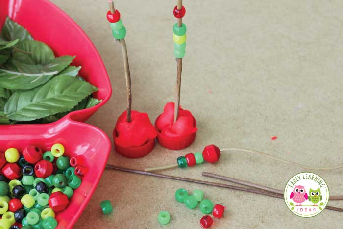 Let your kids create their own apple activities. Give them play dough and a variety of apple theme materials. They will love this fun invitation to play. Get ideas and material suggestions today. This is perfect sensory and fine motor activity for your apple theme, Johnny Appleseed theme, or fall theme unit or lesson plans in your preschool or pre-k classroom. There are plenty of opportunities for math learning too. You will love their 3-D art creations #preschool #appleactivities