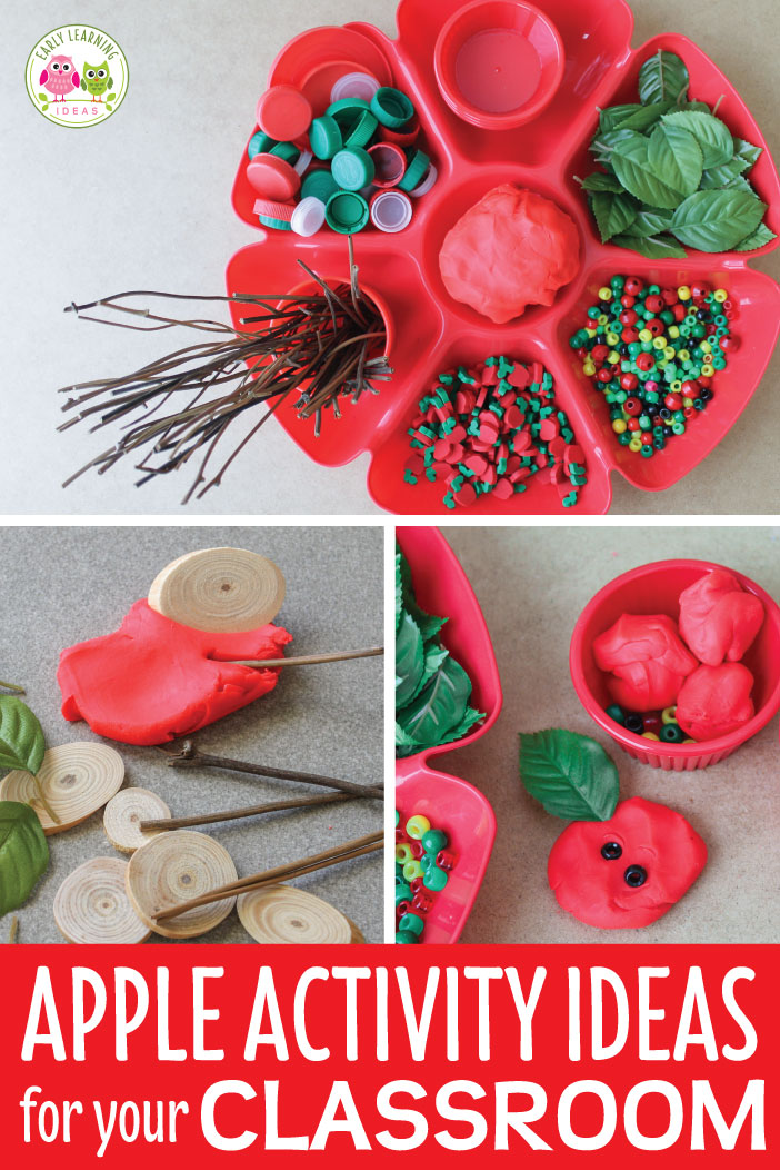 Let your kids create their own apple activities.  Use play dough and a variety of apple theme materials.  They will love this fun invitation to play & 3-D art creations.  Get ideas and material suggestions today.  This is perfect sensory and fine motor activity for your apple theme, Johnny Appleseed theme, or fall theme unit or lesson plans in your preschool or pre-k classroom.  There are plenty of opportunities for math learning too.  #preschool #appleactivities
