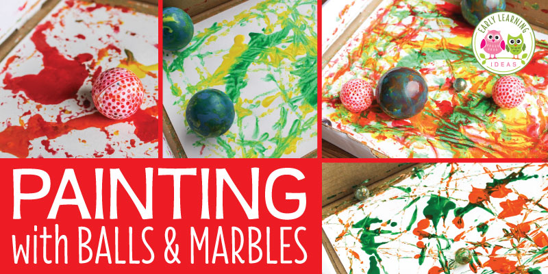 Art for Preschoolers:  Painting with Marbles and Balls