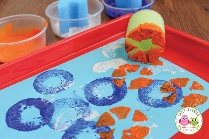 Looking for easy art for kids? Here are tons of ideas for using pool noodles in preschool and pre-k process art projects. Kids will love these fun and simple projects! Add them to your early childhood art center. From shape paint rollers to textured stampers, young children will love exploring and creating. Let kids experiment with materials and even work on fine motor skills. Check out these tips and tricks. #preschool #processart