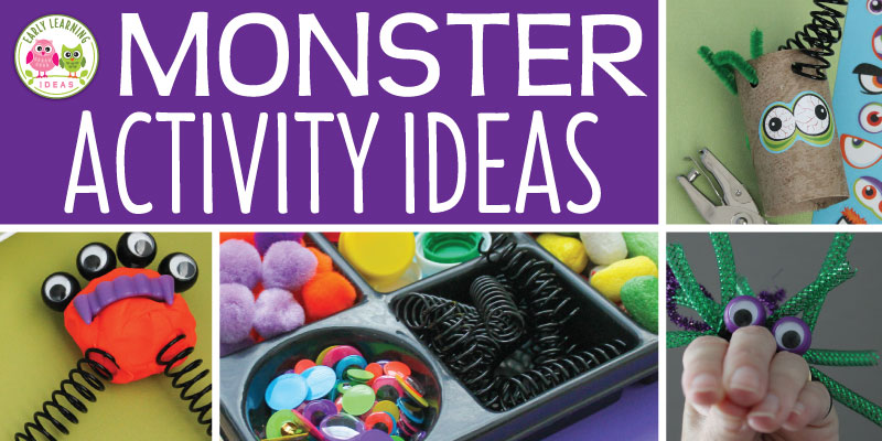Check out all of these monster ideas for your kids. Here are some simple learning activities that teachers can add to their monster theme, Halloween theme, or October theme unit and lesson plans. From process art and letter activities to math game printables and fine motor craft activities, your kids will have fun learning. Get out the play dough and the googly eyes for your children for some monster fun. #preschool #monsteractivities #halloweenactivities #prek #earlylearningideas