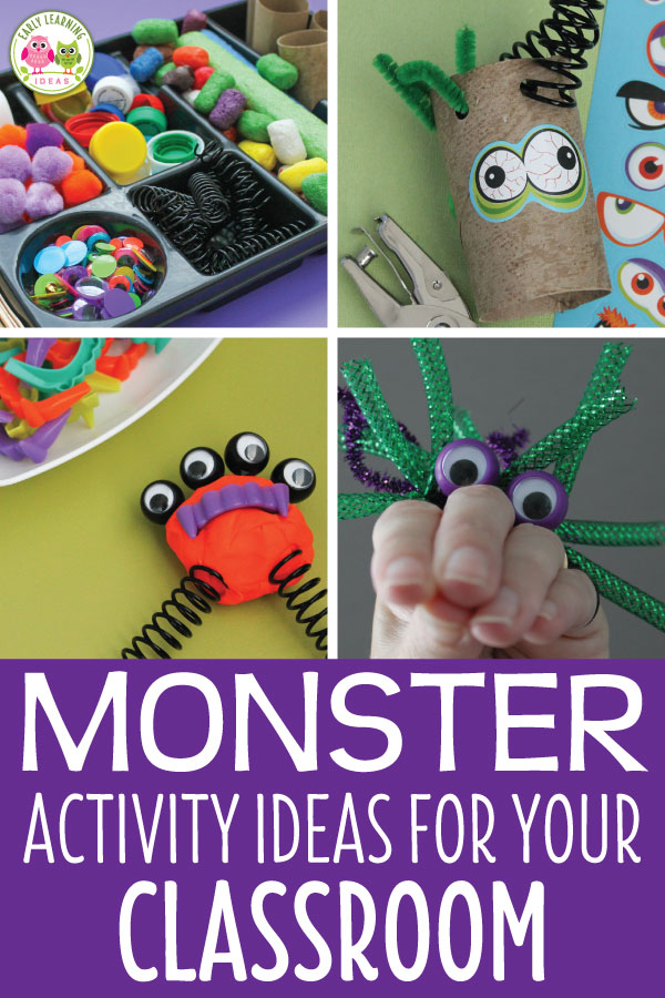 Check out all of these monster ideas for your kids.  Here are some simple learning activities that teachers can add to their monster theme, Halloween theme, or October theme unit and lesson plans.  From process art and letter activities to math game printables and fine motor craft activities, your kids will have fun learning.  Get out the play dough and the googly eyes for your children for some monster fun.  #preschool #monsteractivities #halloweenactivities #prek