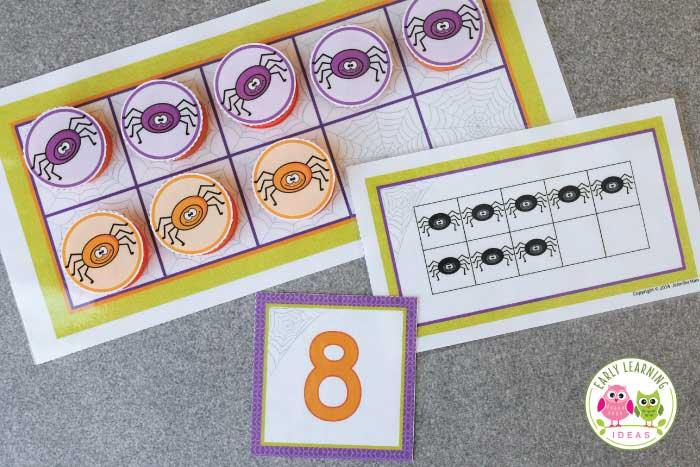 spider math activities for preschool, pre-k and kindergarten