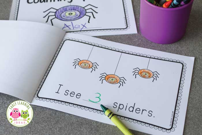 Are you looking for spider activities for your preschool, pre-k and kindergarten classroom? Your children will love this spider printable emergent reader. This free number and counting book features the numbers 1-5 and is a perfect addition to your Halloween theme or spiders theme unit and October lesson plans. Kids will experience reading success because the book features simple, predictable text and fun pictures for coloring. #preschool #prek #kindergarten #emergentreaders #spideractivities