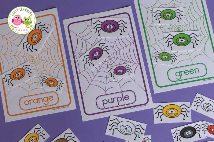 spider color and size sorting activities for preschool and pre-k