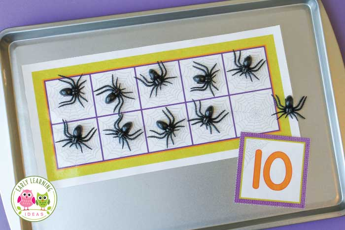 spider math activities for preschool, pre-k and kindergarten