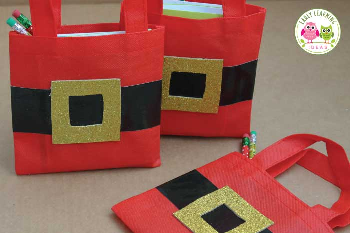 Check out these fun easy to make DIY Christmas gift bags that you can make for your kids. There is no need to look for more ideas, these are perfect for a class gift or holiday party goody bag or favor. Check out the tutorial for the directions...they are simple. Your kids will love these homemade little Santa bags. #preschool #Christmasactivities #christmascrafts #christmasintheclassroom