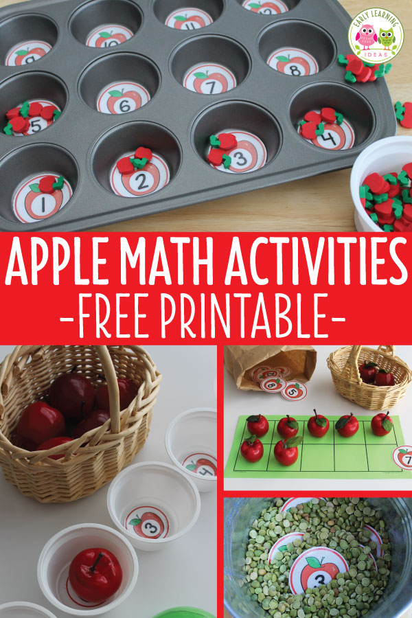 Check out all the ways you can use these apple free printables for apple math activities with your kids in preschool, pre-k and kindergarten.  Perfect for your apples theme, Johnny Appleseed study, BTS theme or harvest theme units and lesson plans. Kids will love the hands-on learning ideas to learn numbers, counting, comparing numbers, etc.  Perfect for your early childhood math centers, here are even math game ideas. #appletheme #preschoolmath #preschool