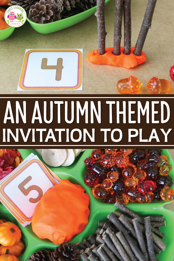 Check out these fun playdough activities for fall.  Find lots of ideas for materials that you can add to an autumn themed invitation to play.  This is a perfect fine motor and sensory activity for your fall theme, harvest theme, or Halloween theme unit and lesson plans in your preschool and pre-k classroom.  Tips for adding math and literacy learning opportunities are included.  Your kids will have fun with these ideas.  Get out the pumpkin spice play dough and start playing today #preschool